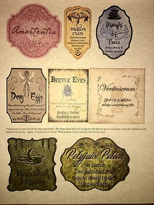 "LABELS ONLY Apothecary Potion Bottles Harry Potter Party Prop 3"" Unique Custom"
