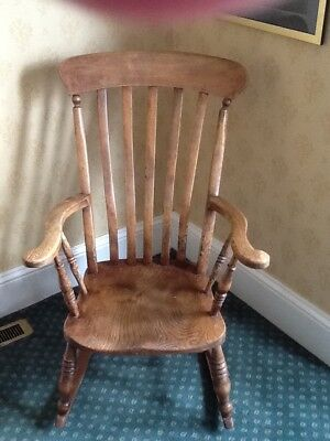 Antique Farmhouse High Slat Back Windsor Rocking Chair - Buyer to collect