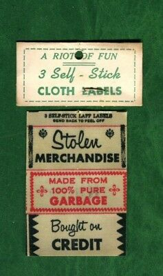 Vintage Set of 3 1960's Impko Funny Cloth Labels * 60's Clothing Garment Tags