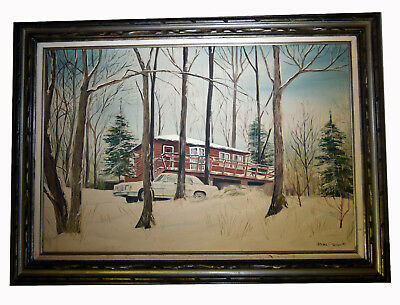 35 Vintage Oil Painting Canvas Rustic Country House Forest Cabin Winterscape