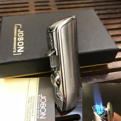 JOBON Triple Jet  Torch Flame Cigar Cigarette Lighter with Punch Tool Silver
