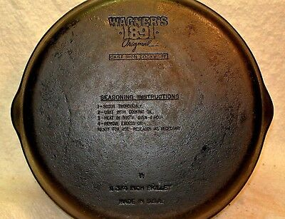 """Vintage Wagner 1891 Original 11 3/4"""" double pour Cast Iron Skillet Made in USA"""