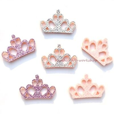 40Pcs Glitter Mixed Crown Appliques 3D Pads Patches for Kids Craft/Wedding Decor