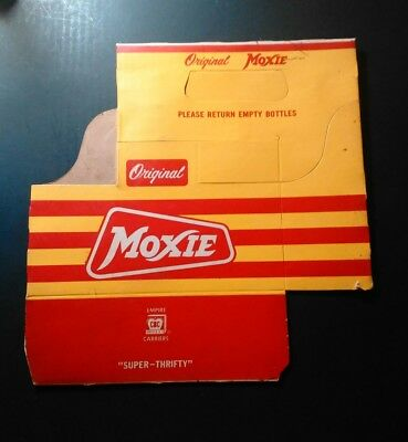 Vintage Moxie Soda Carton Cardboard Bottle Carrier Original by Empire Carriers
