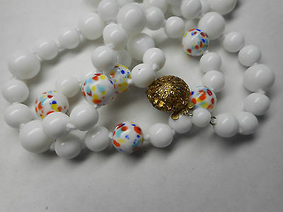 Vintage high end knotted white glass, murano confetti glass necklace, 26""