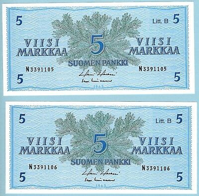 Finland - 5 Markkaa x 2 - 1963 - WPM# 70a - Consecutive Serial Numbers