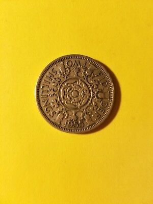 British Two Shillings Coin 1955 UK Britain Elizabeth II Florin Rose - FREE SHIP