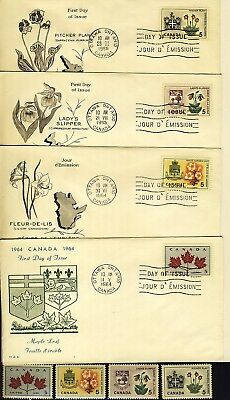 1964 #417/24 5¢ Provincial Flowers & Coats-Of-Arms Issue 4 First Day Covers Vf
