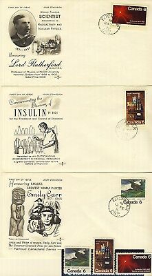 1971 #532-4 6¢ Commemorative 3 Unaddressed First Day Covers Vf + Mint Stamps