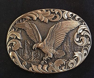 Vintage ~ Eagle ~Trees ~ Solid Brass ~Gold Tone~ Belt Buckle~New