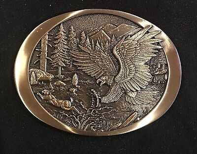 Vintage ~ Eagle ~~ Solid Brass ~Gold Tone~ Belt Buckle~New