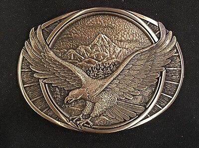Vintage ~ Eagle ~Mountains~ Solid Brass ~Gold Tone~ Belt Buckle~New