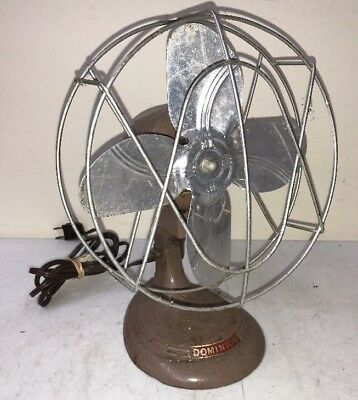 "1950s Dominion Metal Table/ Desk Fan 8"" Blades Mid Century 2004 Vintage Working"