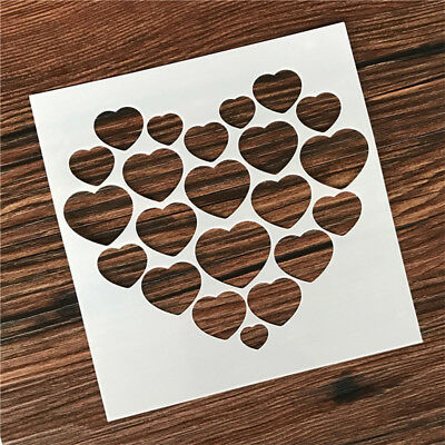 DIY Heart Wedding Party Cake Decor Masking Spray Stencils Painting Template Tool