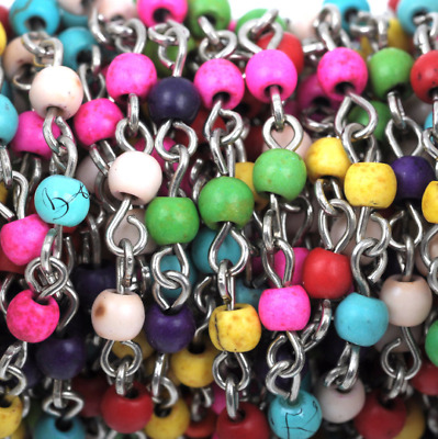 1 yard Rainbow Howlite Rosary Chain, silver, 4mm round stone beads fch0409a