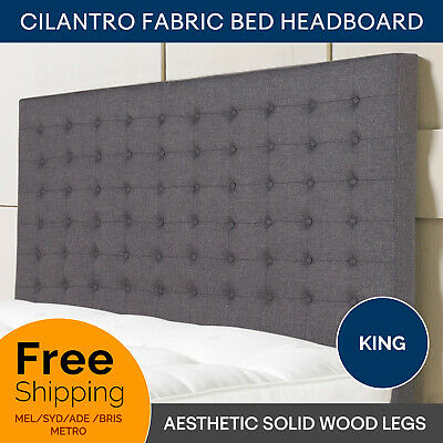 Bed Head King Headboard Charcoal Tufted Grid Pattern Linen Fabric Cilantro