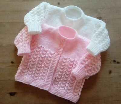Made to order hand knitted matinee coat cardigan 0-3 months, 5 colours, FREE P&P