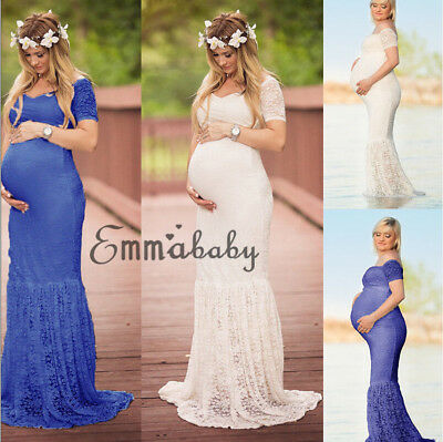 Pregnant Women Photography Dress Maternity Maxi Party Dresses Lace Gown Clothes