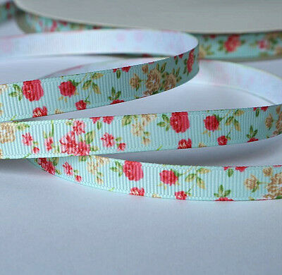 10mm wide Grosgrain Ribbon Mint Floral Pattern - by the metre - Sewing / Craft