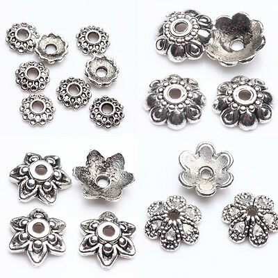 New Tibet Silver Loose Round Flower Shape Spacer Bead Caps Jewelry Finding