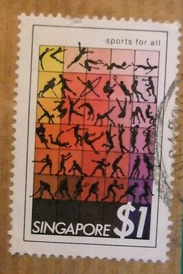 a# FRANCOBOLLO SINGAPORE 1$ SPORTS FOR ALL STAMP SELLO
