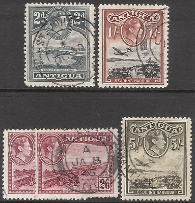 ANTIGUA 1938 #106 #107 1942 #106a 1949 #105a 1951 #101a USED GV1 STAMPS