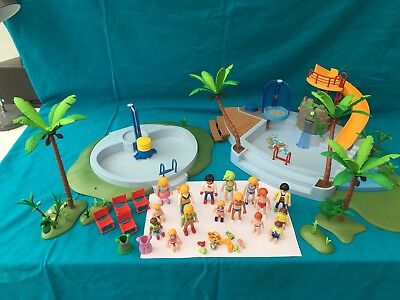 Playmobil Swimming Pool With Water Slide 4858 + Swimming Pool With Shower  3205