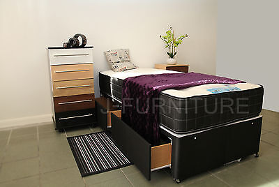2ft6/3ft Divan Bed With Storage, Mattress. Base in Black or Cream. LAST STOCK!