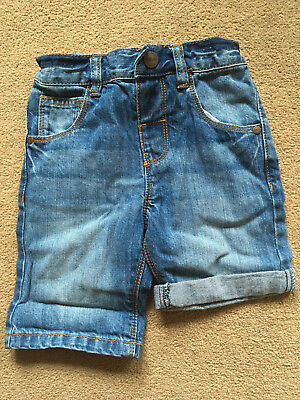 BNWT NEXT Boys Blue Denim Shorts 12-18 Months Adjustable Waist