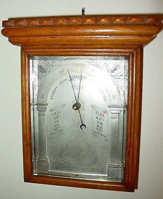 Antique Victorian very unusual oak cased aneroid wall barometer---15477