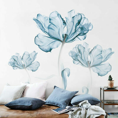 Large Blue Flower Wall Art Stickers Vinyl Decal Living Space Decor Art Mural DIY