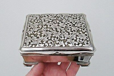 English Silver Plate Jewel Ring Or Trinket Box Ornate Acanthus Leaf Decoration