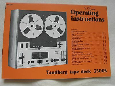 operating instructions user manual for the tandberg 3500x tape rh picclick co uk Owners ManualDownload Tandberg User Guide