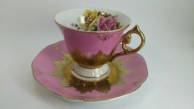 CASTLE JAPAN TEA CUP and SAUCER Pink Gold trim 156 c1