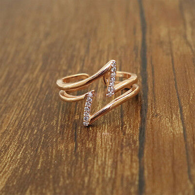 Women Fashion Lightning Shape Ring Crystal Plated Personality Love Gifts Simple