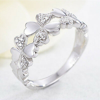Women Clover Opening Ring Crystal Plated Ladies Silver Jewelry Love Gift Fashion