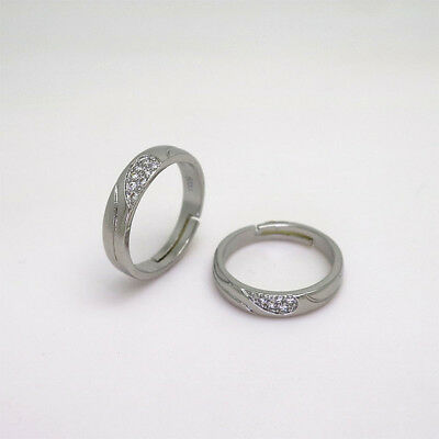 New Opening Couple Ring Diamond-studded Silver Women Jewelry Ladies Lovers Heart