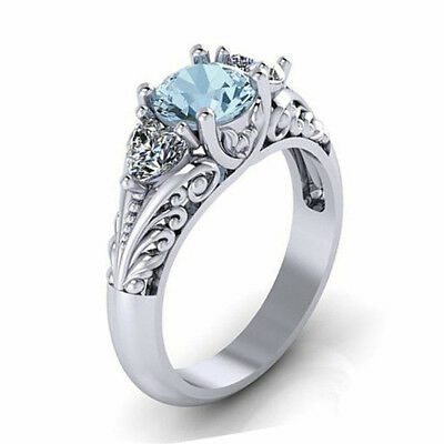 Women Blue Zircon Crown Ring Vintage Party Accessories Hollow Jewelry All Sizes