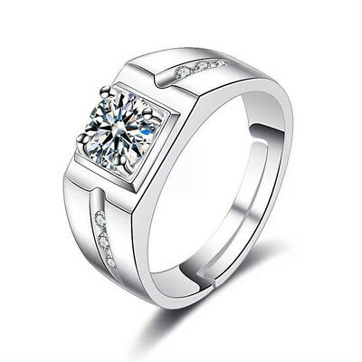 Couple Lovers Adjustable Ring 925 Silver Gem Crystal Plated Fashion Jewelry NEW