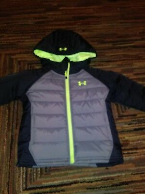 Nwt Under Armour Cold Gear Storm Boys Puffer Jacket Black Green Gray