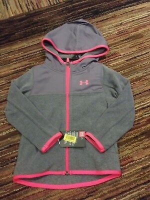 NWT Under Armour Little Girls Hundo LIGHTWEIGHT Fleece Hoodie Jacket PINK GRAY