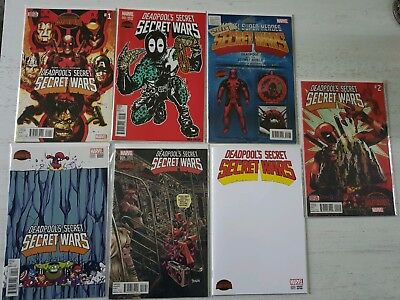 Deadpool Secret Secret Wars Issue 1 Variants set with 1st prints issues 1 and 2