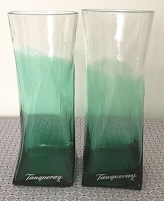 Two(2) Tanqueray Green 15Oz Glasses Highball Barware Tonic-Tom Collins Rare Vase