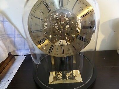 Pro Clock Skeleton Clock under glass dome made from an 1894 Ansonia movement