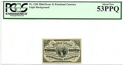 Fr 1226 Third Issue 3 cent Fractional Currency Light Background PCGS AU 53 PPQ