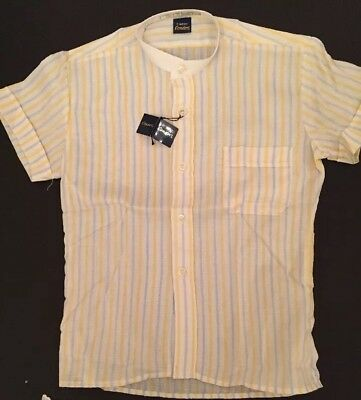 Vintage Mid-century Boy's Shirt Collarless Old Stock  White/yellow/grey Clean.