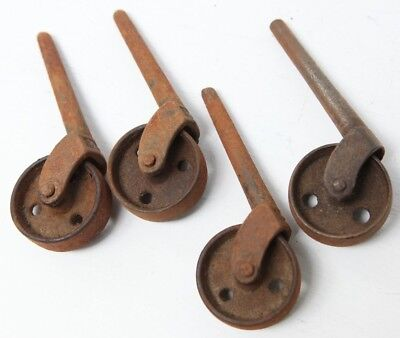 Antique Metal Caster Wheels Cast Iron Rustic Furniture Wheel Set 4-1/2""