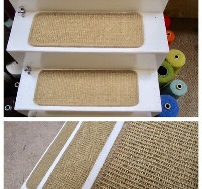 9 stair pads treads sisal carpet 54cm x 20cm bronze gold/natural Crucial Trading
