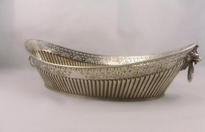 Stylish English Silver Electro Plate Lion Handle Basket Dish James Dixon 1950s