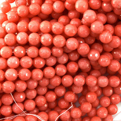 """8mm faceted pink coral round beads 15.5"""" strand"""